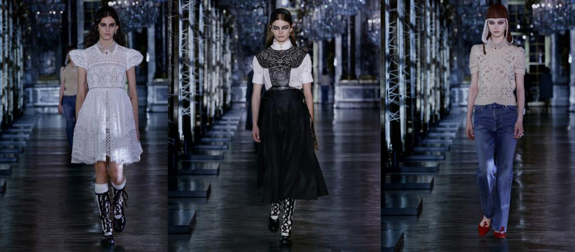 En total-look sur une robe de fillette ou sur une maille associée à un jean, la dentelle revient chez Dior pour l'hiver prochain.