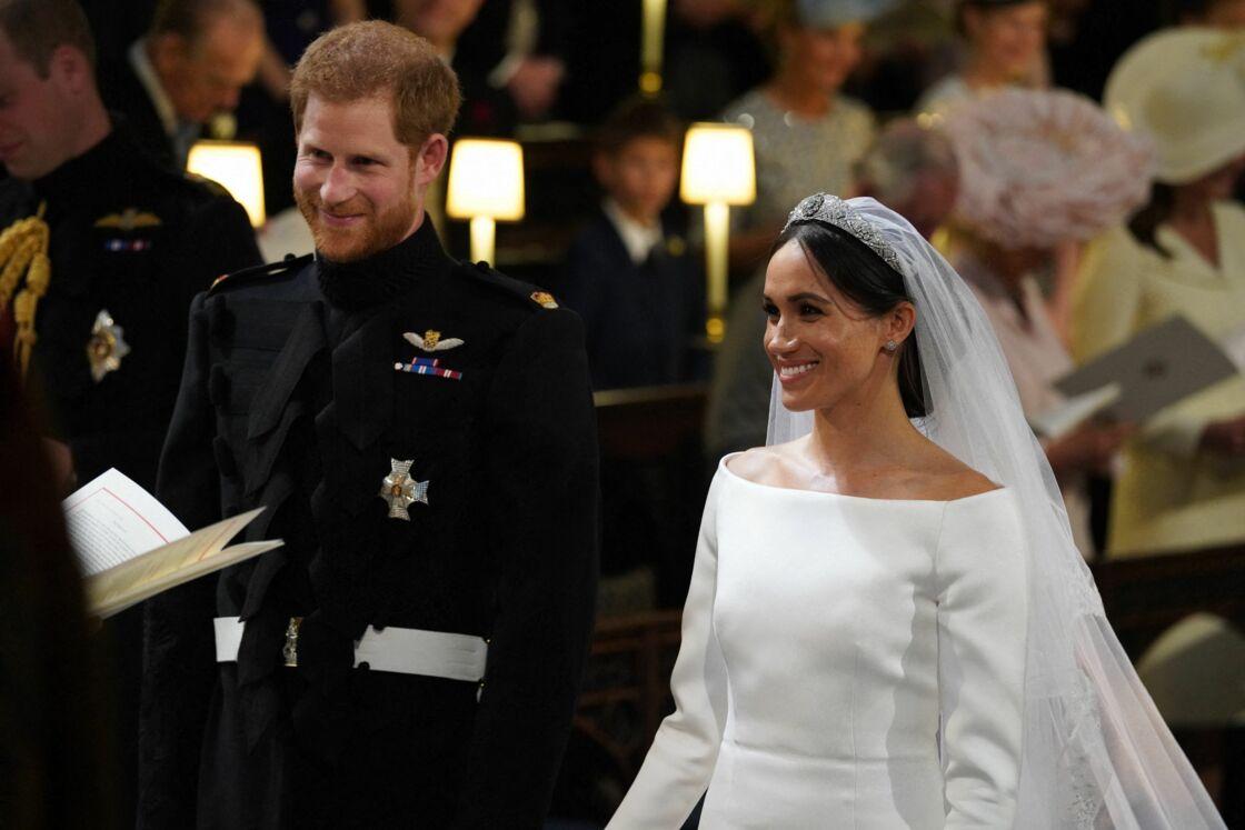 Le prince Harry et Meghan Markle lors de leur mariage à Windsor, le 19 mai 2018