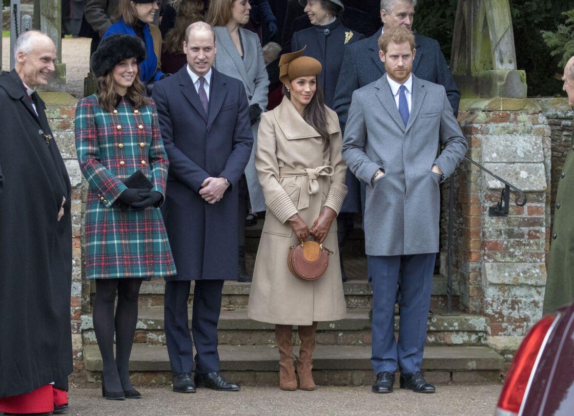 Kate Middleton, le prince William, Meghan Markle, le prince Harry à Sandringham, le 25 décembre 2017