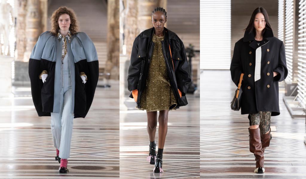 Les vestes, manteaux et capes épaulées ont rythmé le défilé automne-hiver 2021-22 de Louis Vuitton.