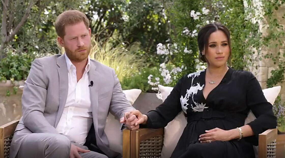 Meghan Markle et son époux le prince Harry lors de leur interview menée par Oprah Winfrey diffusée sur CBS le 7 mars 2021