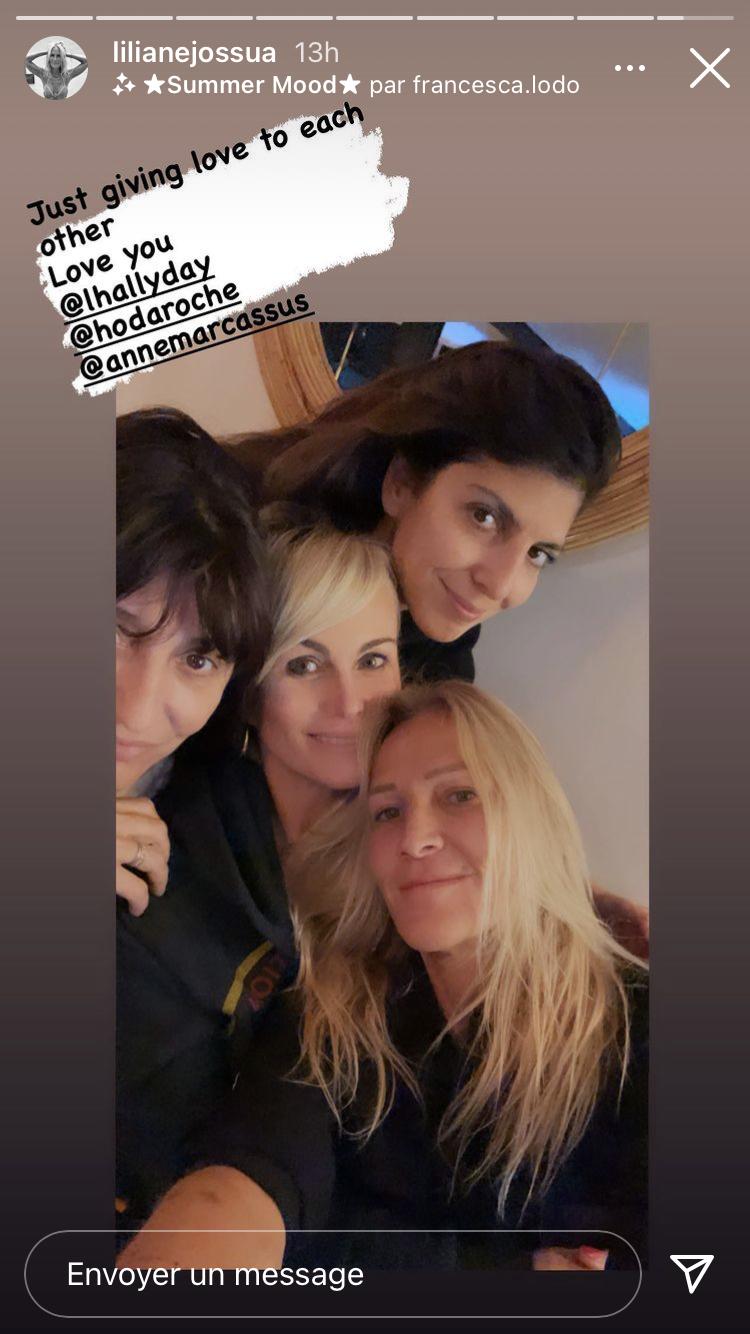 Laeticia Hallyday avec Liliane Jossua, Hoda Roche et Anne Marcassus ce lundi 15 mars