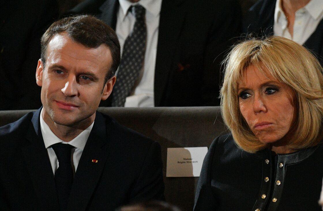 Emmanuel et Brigitte Macron à Paris le 20 mars 2018