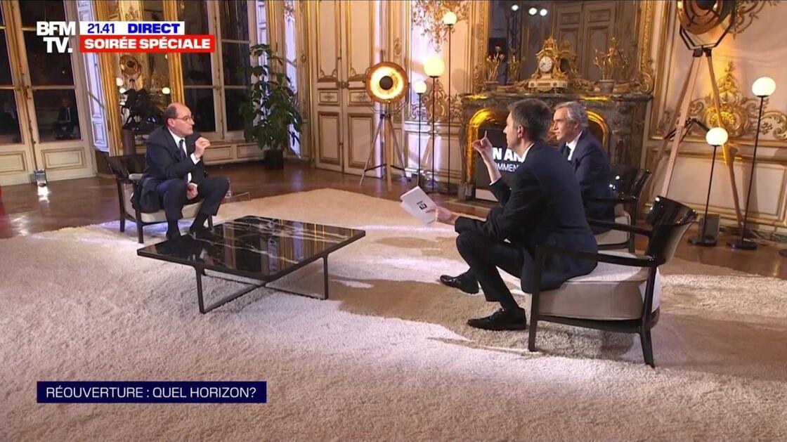 Jean Castex face à Maxime Switek et Bruno Jeudy, lors de son interview exclusive sur BFM ce mardi 16 mars
