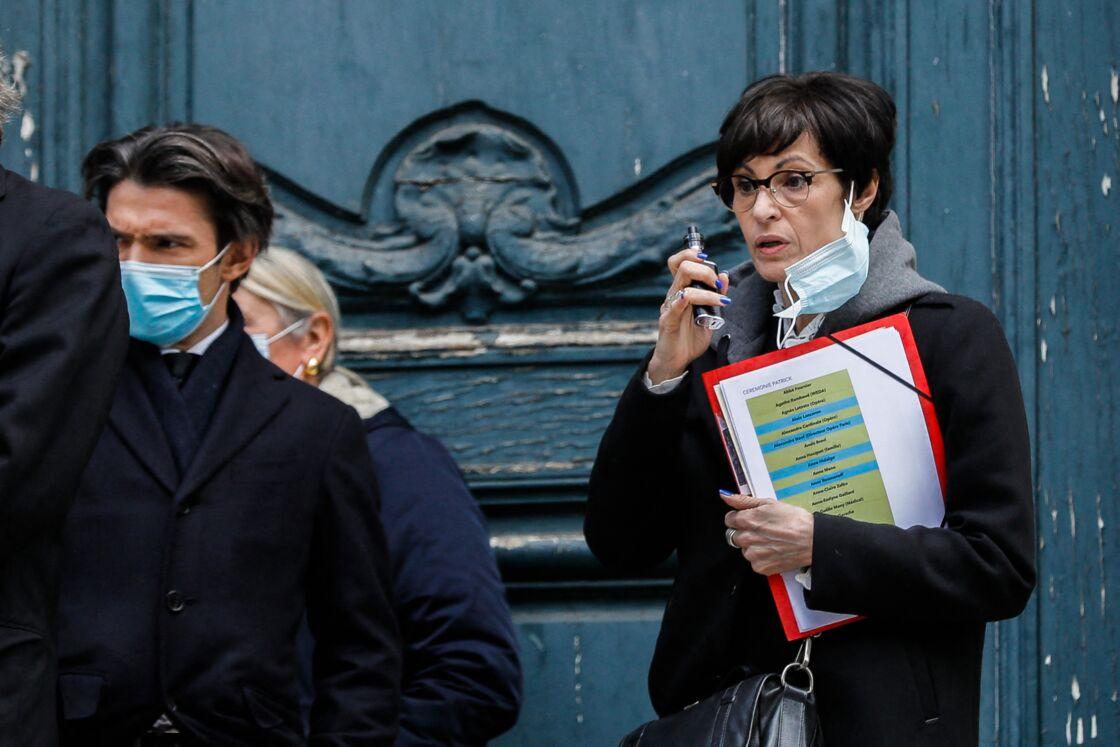 Marie-Claude Pietragalla et Gautier Capuçon, aux Obsèques du danseur étoile Patrick Dupond en l'église Saint-Roch à Paris, France, le 11 mars 2021.