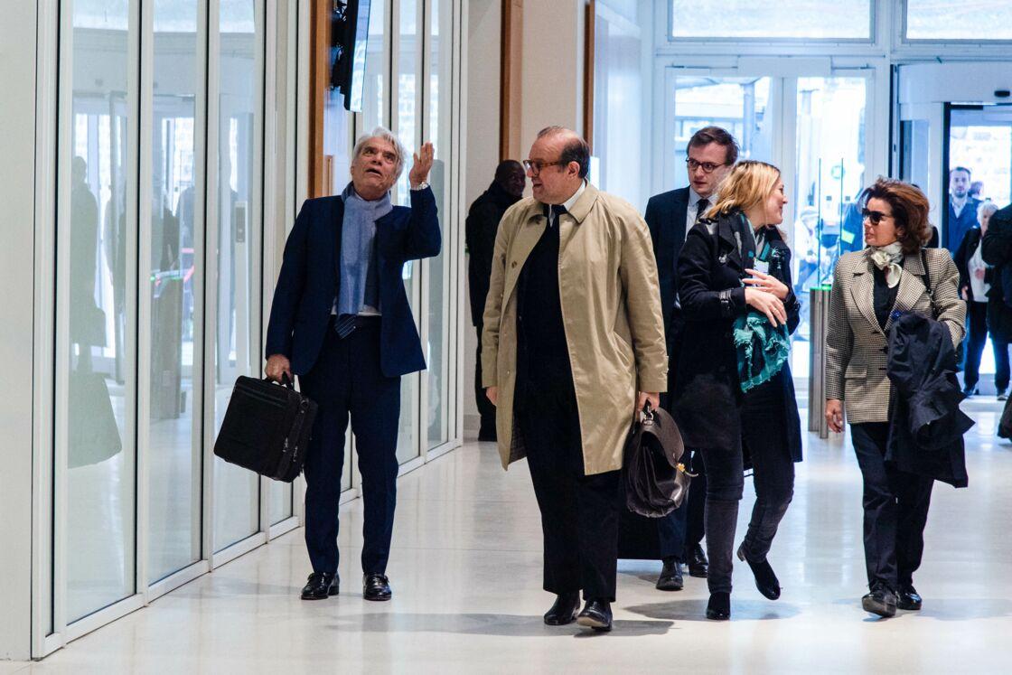 Bernard Tapie, sa femme Dominique Tapie et ses avocats Hervé Témime et Julia Minkowski enceinte (femme de B.Griveaux) - Affaire Tapie : plaidoirie des avocats de la défense, Tribunal de Paris , 11ème chambre correctionnelle, 2ème section, Paris le 4 avril 2019.
