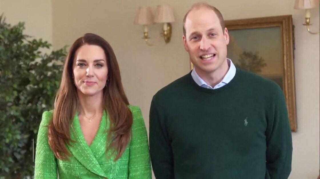 Kate et William en visioconférence à l'occasion de la St-Patrick, le 17 mars 2021.