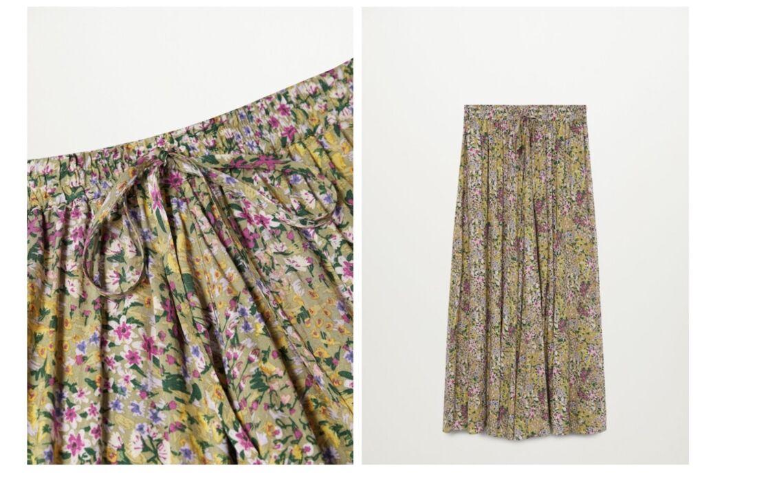 On privilégie un jupe longue à la taille élastique, comme cette très belle jupe en viscose, 39,99 € Mango.