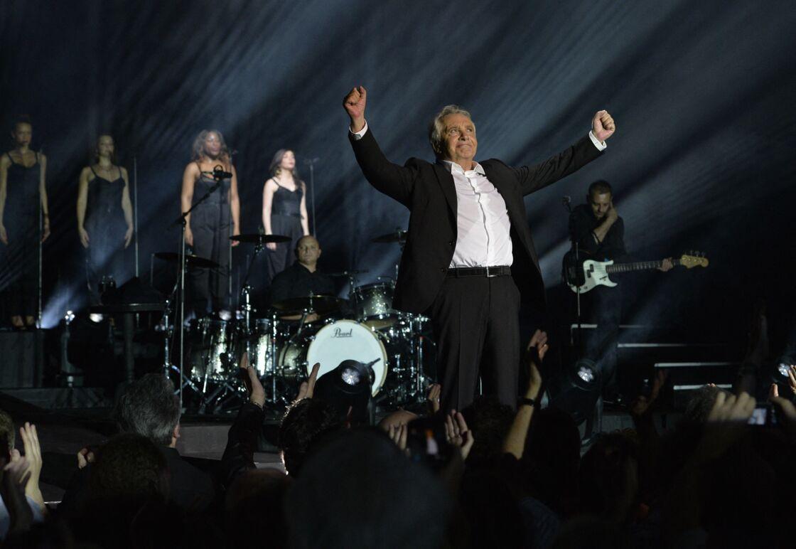Michel Sardou en concert a l'Olympia a Paris le 7 juin 2013.