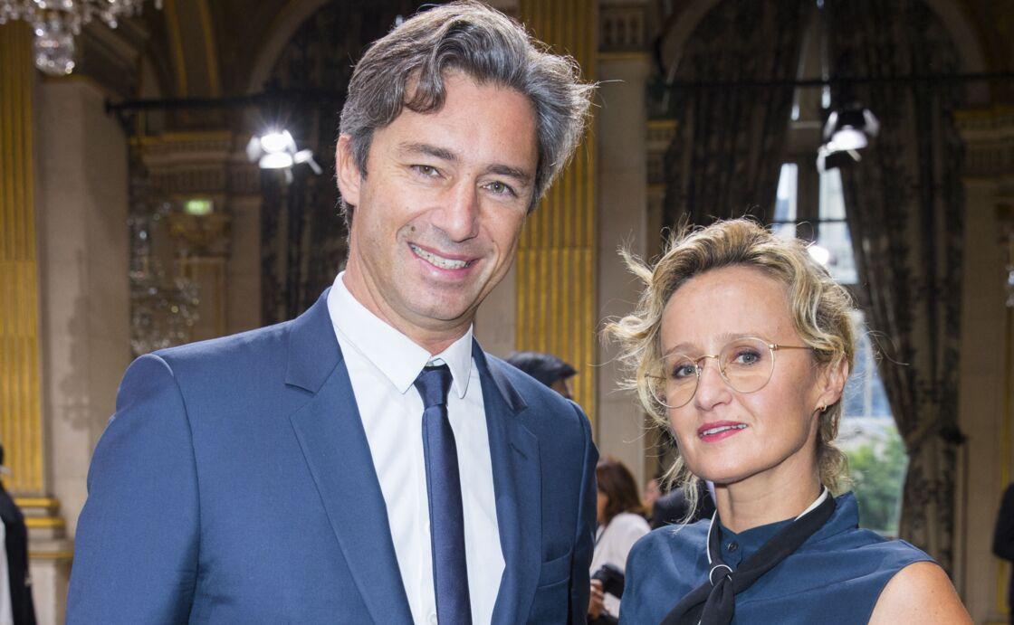 Laurent Solly et sa femme Caroline Roux au défilé de mode prêt-à-porter printemps-été 2017