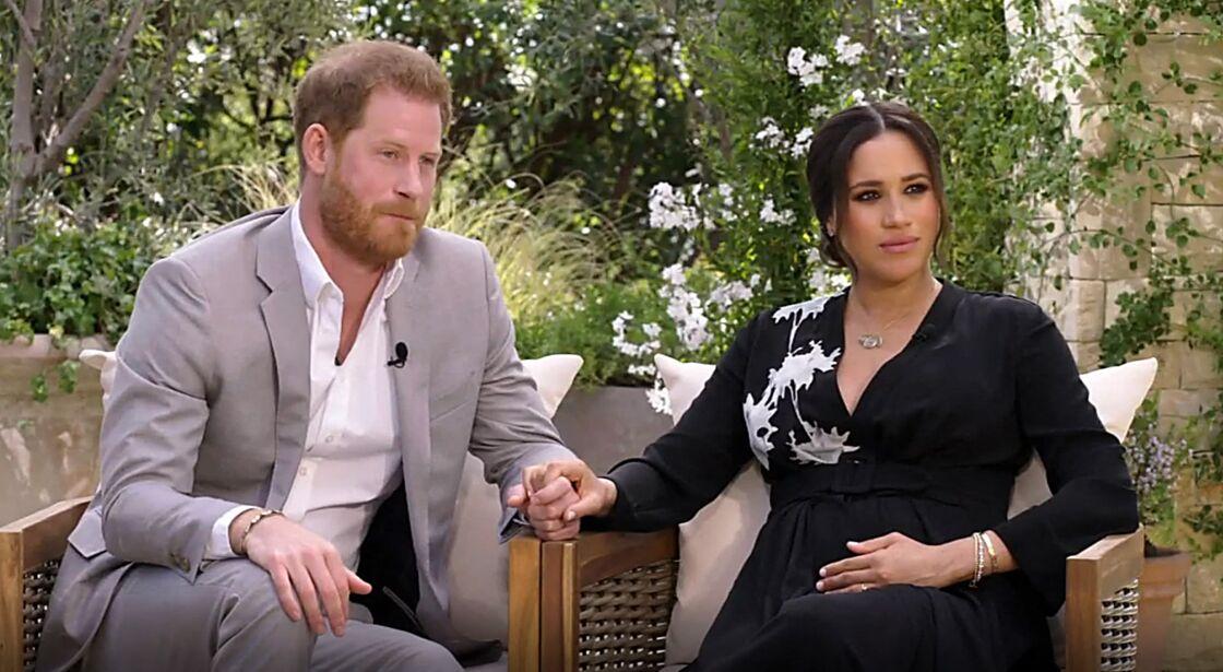 Le prince Harry et Meghan Markle sur la chaîne CBS, lors de leur interview avec Oprah Winfrey