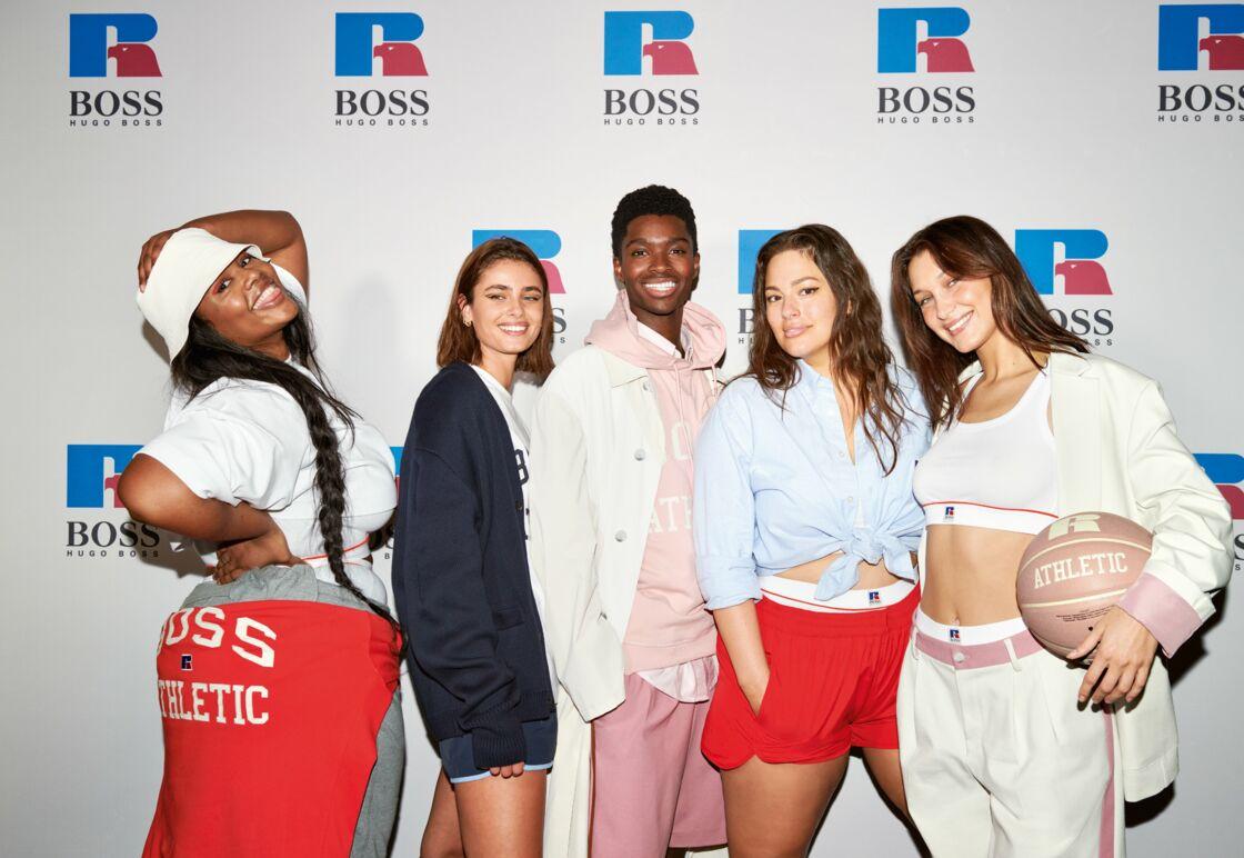 Precious Lee, Ashley Graham et Bella Hadid au défilé Hugo Boss x Russell Athletic