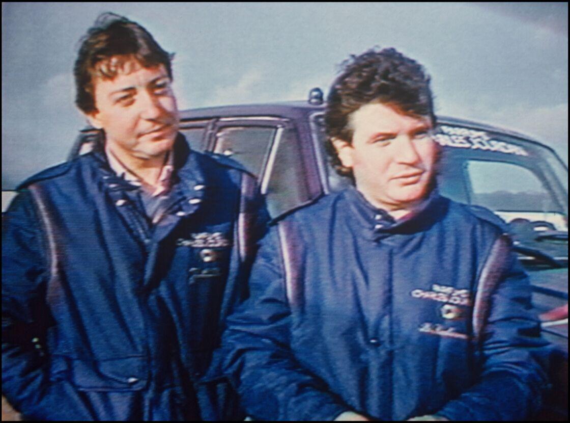 Daniel Balavoine et Thierry Sabine lors du Paris Dakar, le 14 janvier 1986