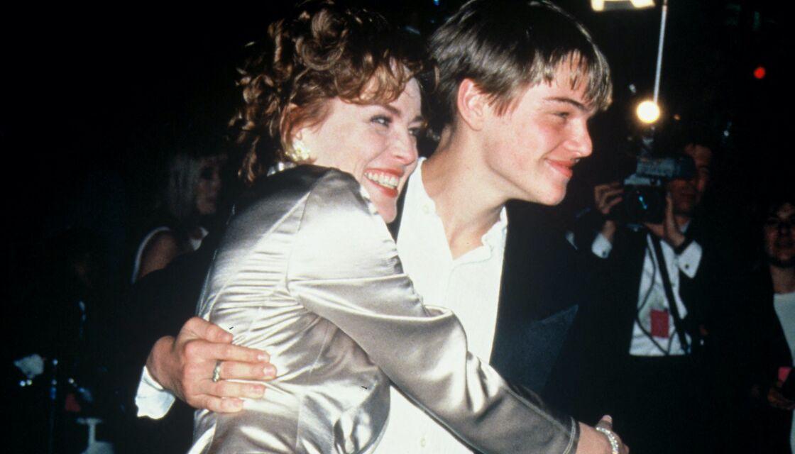 Sharon Stone et Leonardo Dicaprio lors de la soirée des Oscars en 1995