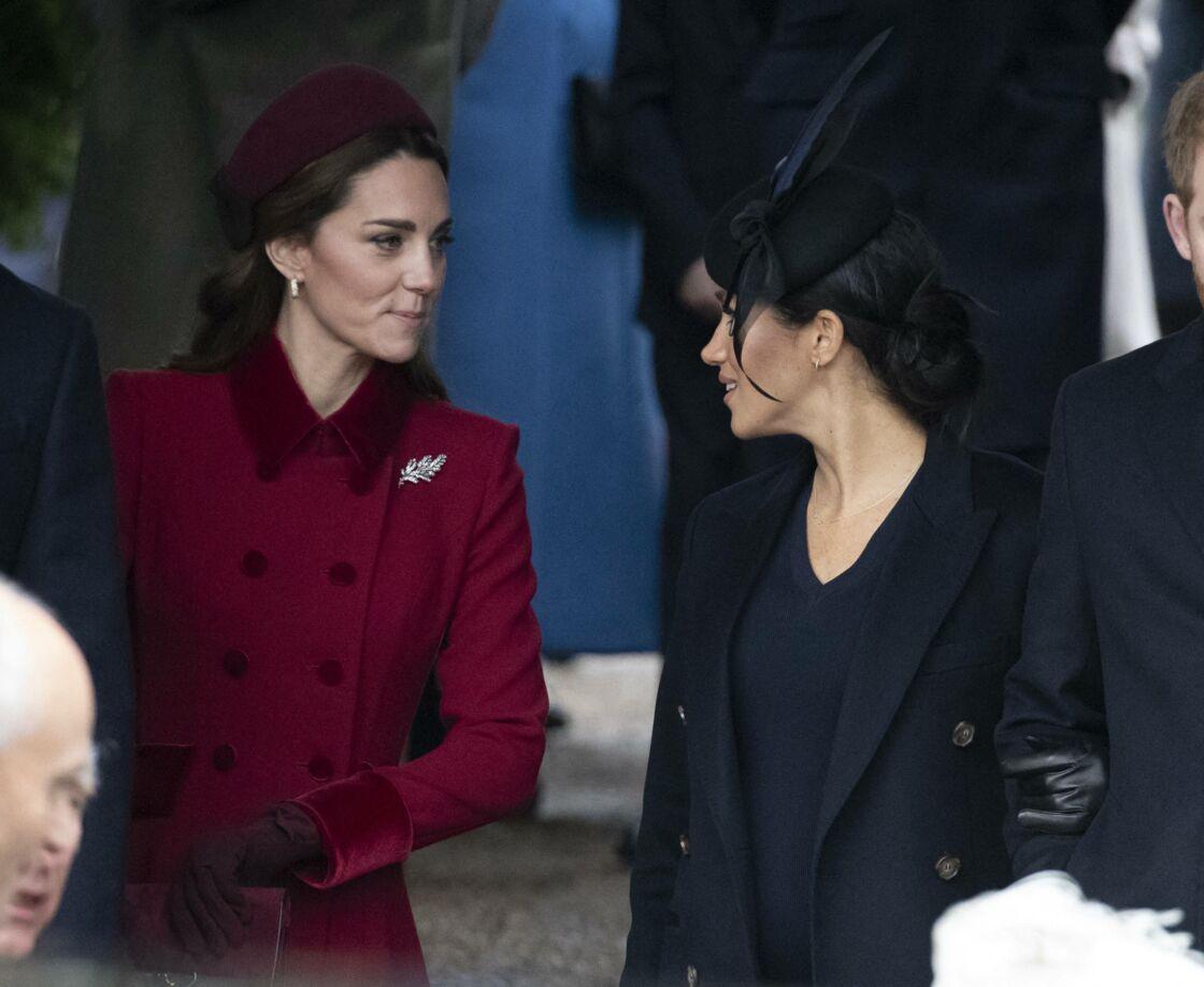 Catherine Kate Middleton, duchesse de Cambridge et Meghan Markle, duchesse de Sussex assistaient ensemble à la messe de Noël à Sandringham, le 25 décembre 2018.