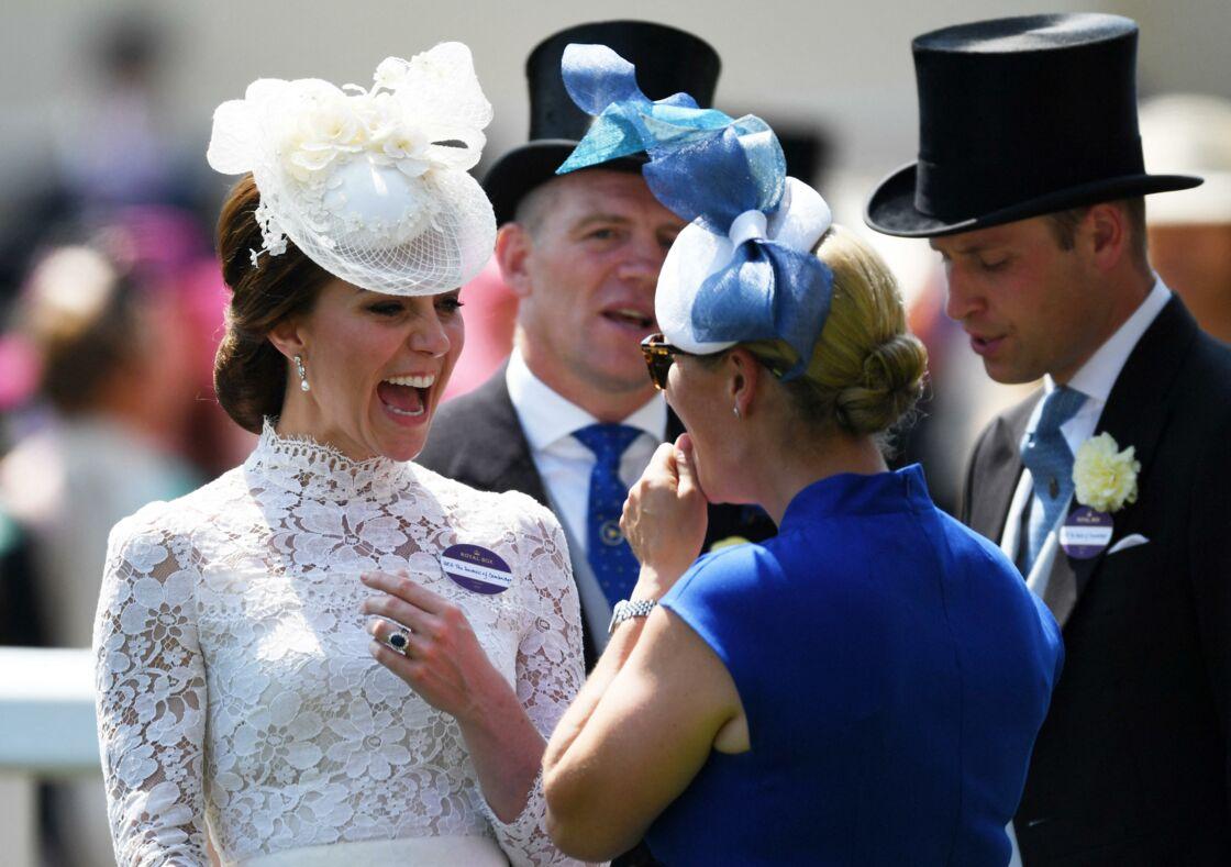 Kate Middleton, le prince William, Zara Tindall et Mike Tindall à la journée des courses hippiques Royal Ascot, en 2017