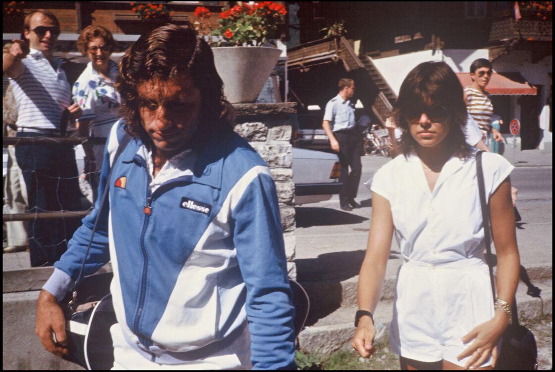 La princesse Caroline de Monaco et le tennisman Guillermo Vilas lors du tournoi de Roland Garros en juillet 1982