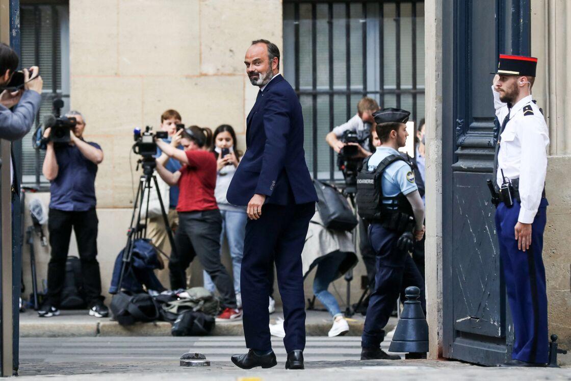 Édouard Philippe lors de la passation de pouvoirs avec Jean Castex, à Matignon, le 3 juillet 2020.