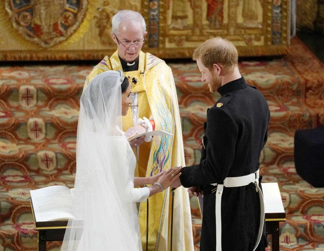 Le prince Harry et Meghan Markle en compagnie de l'archevêque de Canterbury - Cérémonie de mariage du prince Harry et de Meghan Markle en la chapelle Saint-George au château de Windsor, Royaume Uni, le 19 mai 2018.