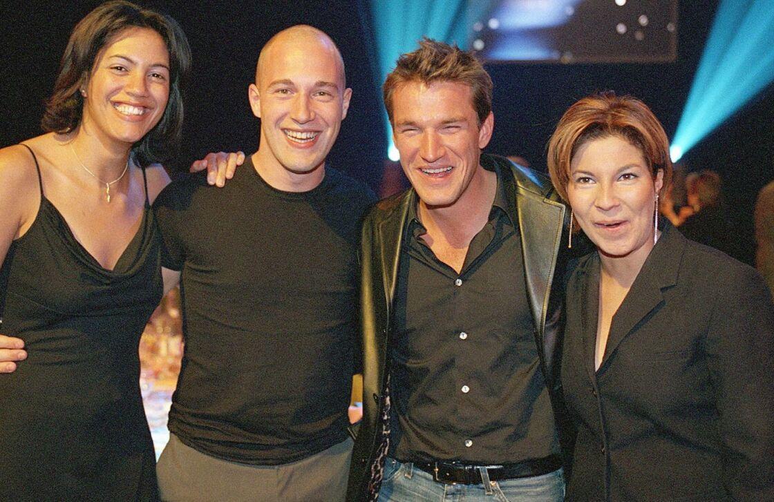 Julie, Christophe et Kenza sur le plateau de Loft Story, le 27 mars 2002.