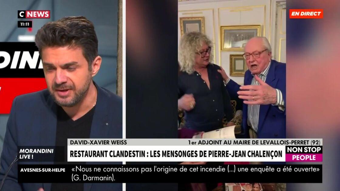 Pierre-Jean Chalençon aux côtés de Jean-Marie Le Pen lors d'une soirée