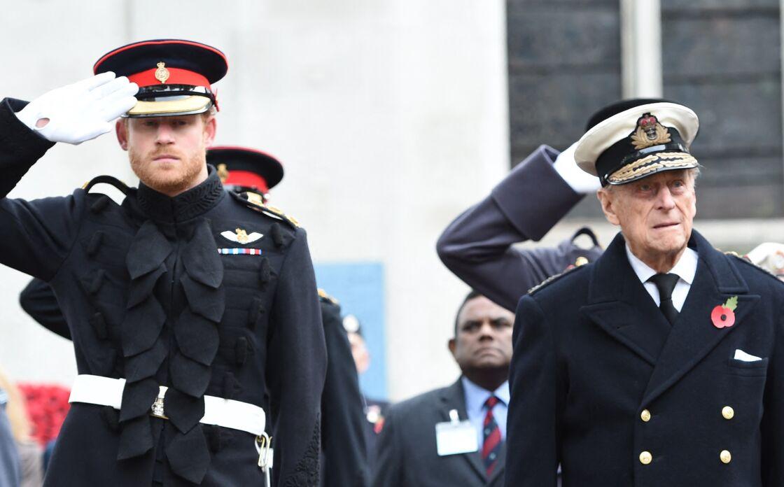 Le prince Harry et le prince Philip au Field of Remembrance, à Londres, le 5 novembre 2015