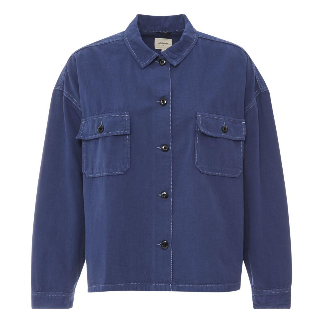 Sur chemise Parrish Coton et Lin - Collection Femme , bleu marine, 149€, Bellerose sur smallable
