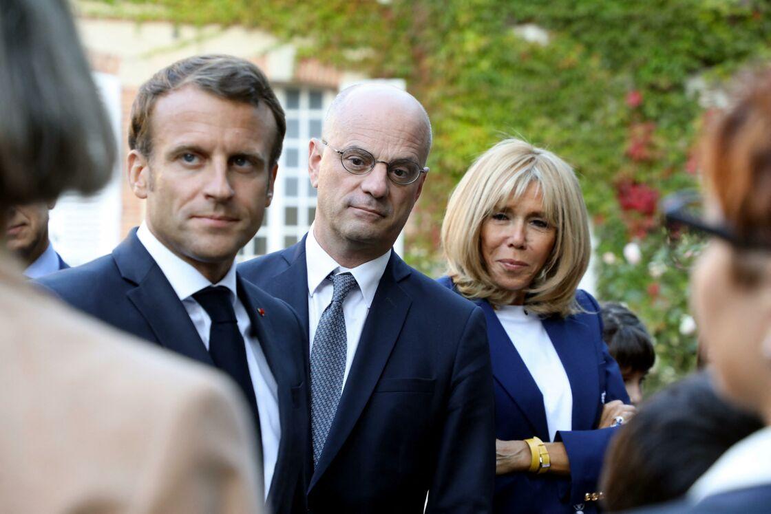 Emmanuel Macron, Jean-Michel Blanquer et Brigitte Macron,  au château de By, à Thomery (Seine-et-Marne), le 20 septembre 2019.