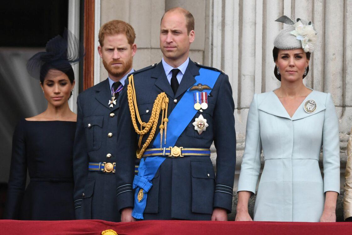 Meghan Markle, le prince Harry, le prince William et Kate Middleton sur le balcon du palais de Buckingham