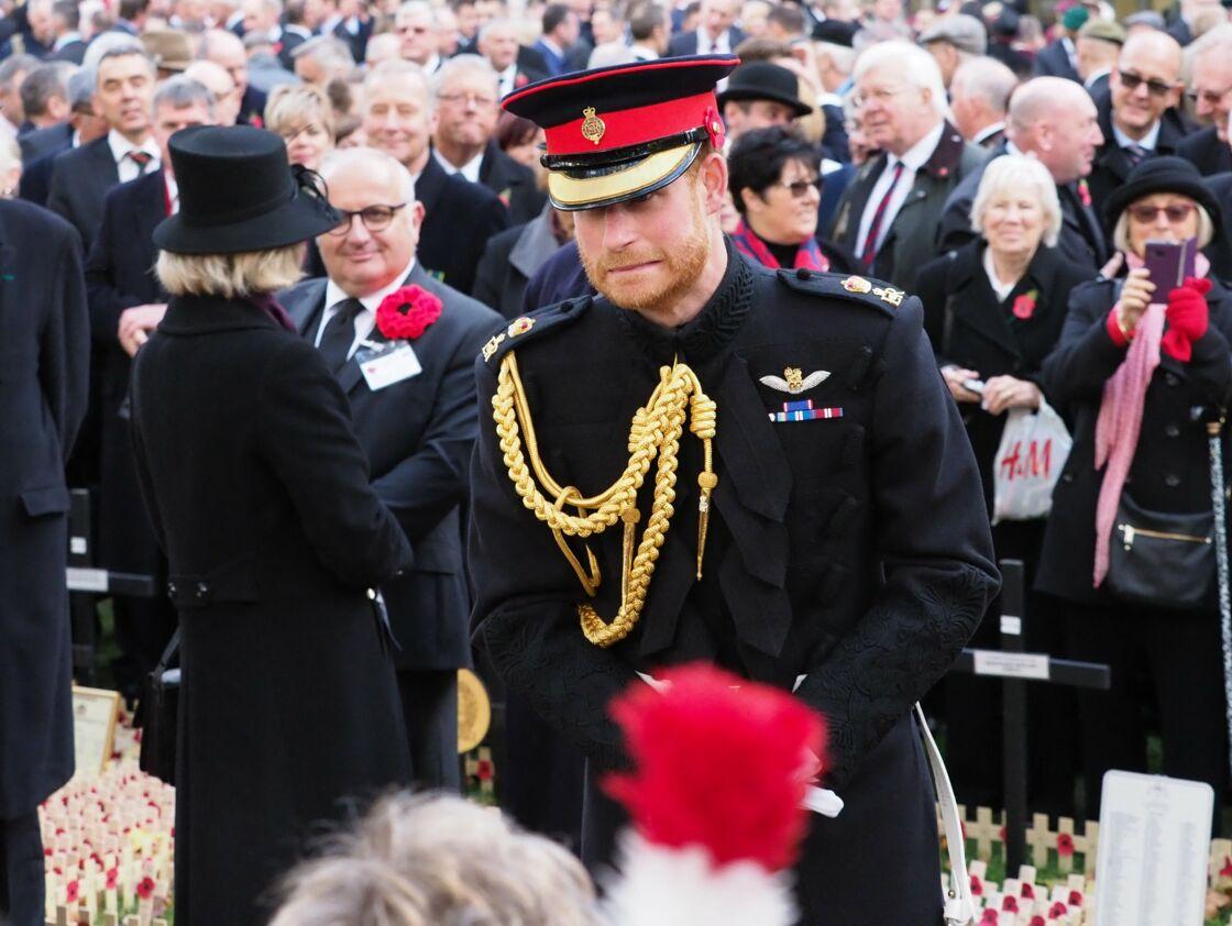 Le prince Harry assiste à la commémoration des champs du souvenir à l'abbaye de Westminster le 8 novembre 2018.