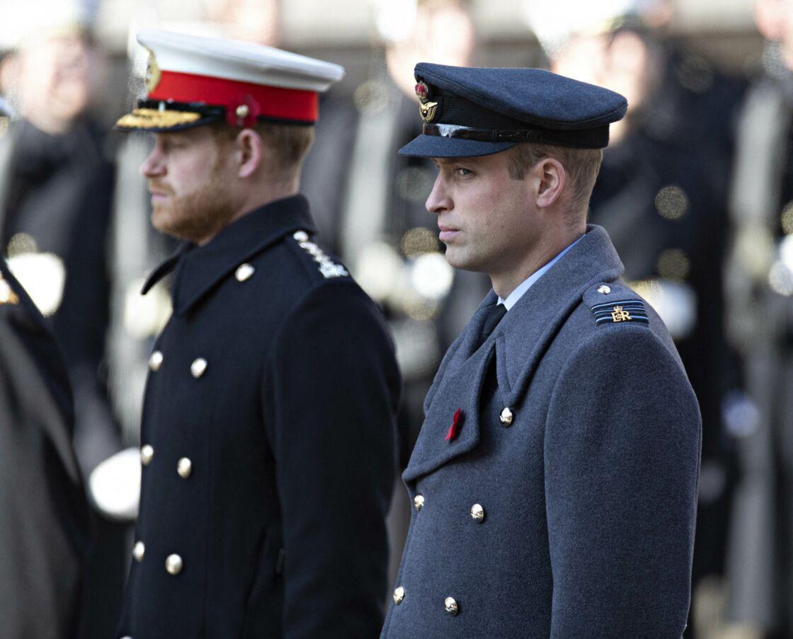 Le prince William et le prince Harry lors du National Service of Remembrance, à Londres, en 2019.