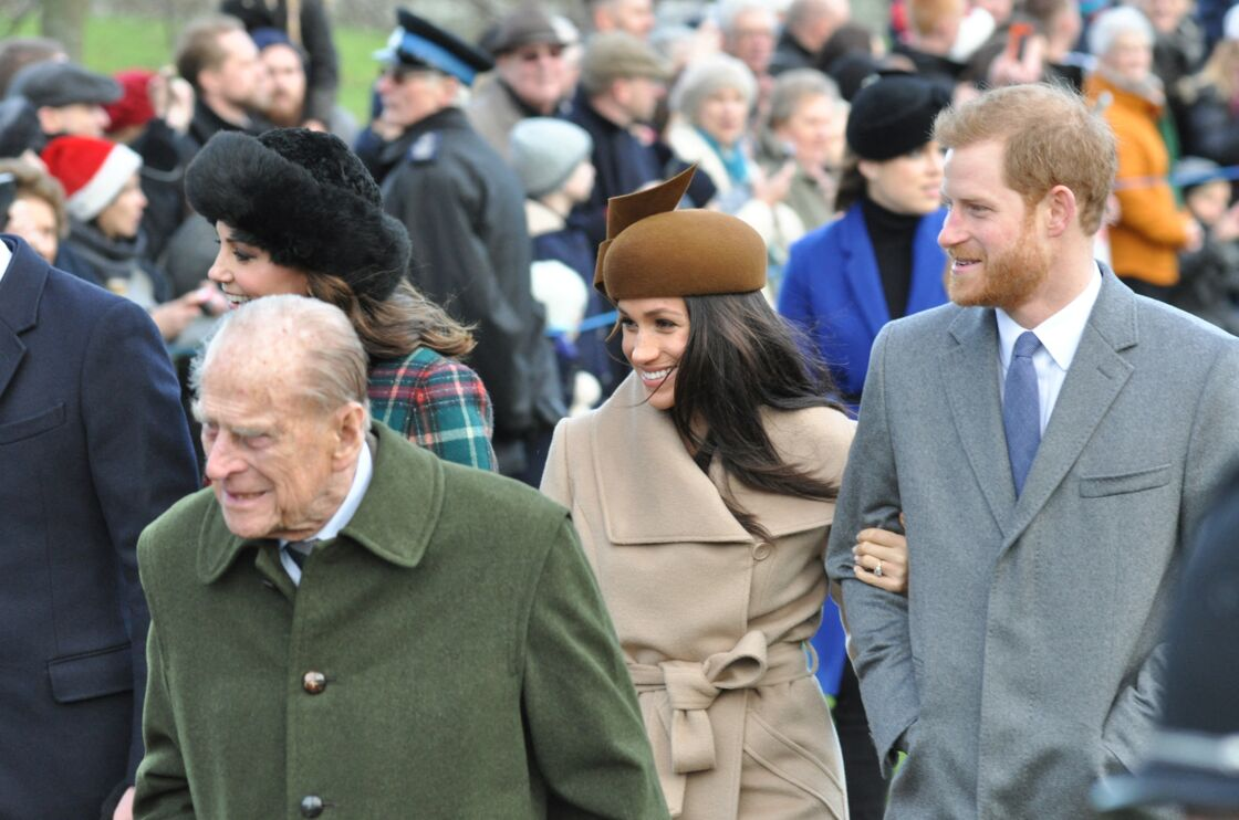 Meghan Markle, Harry et le prince Philip, en décembre 2017