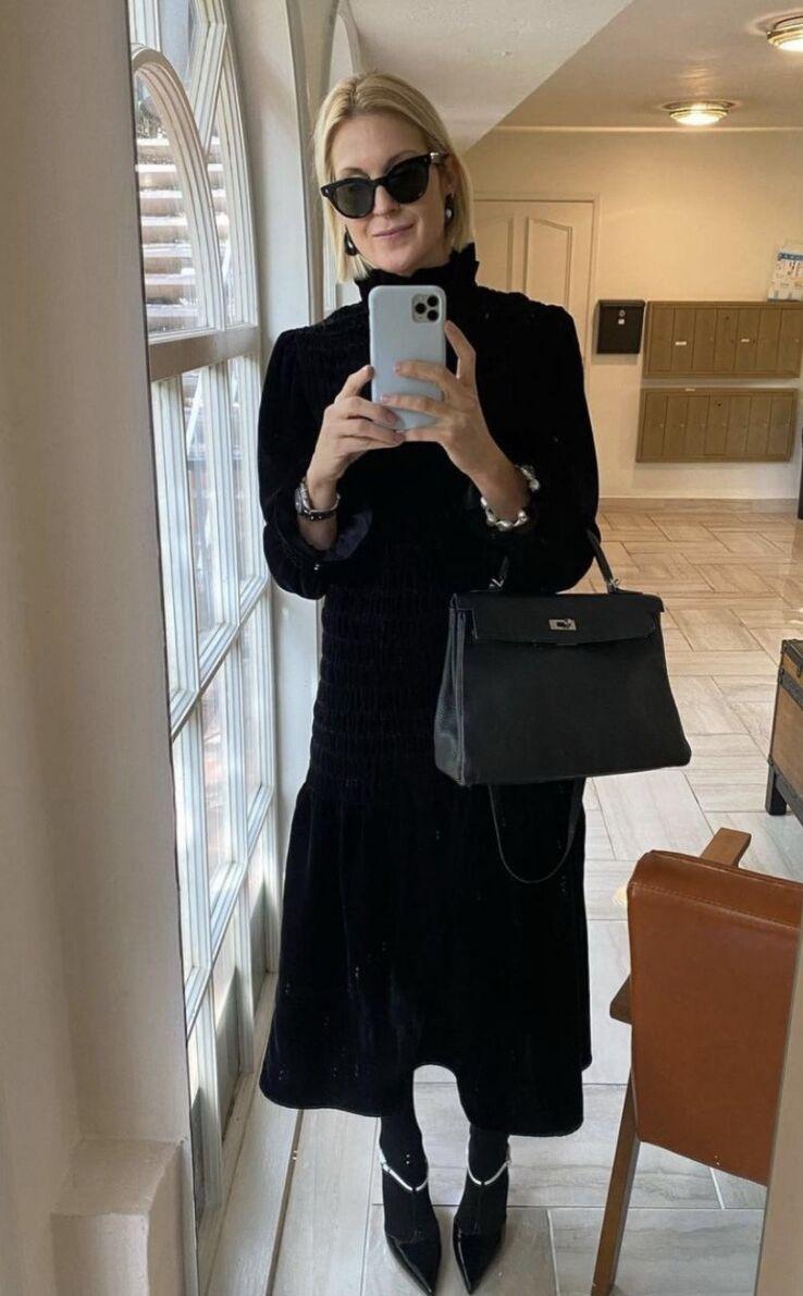 L'actrice Kelly Rutherford en robe Aleria de Maria de la Orden sur Instagram.