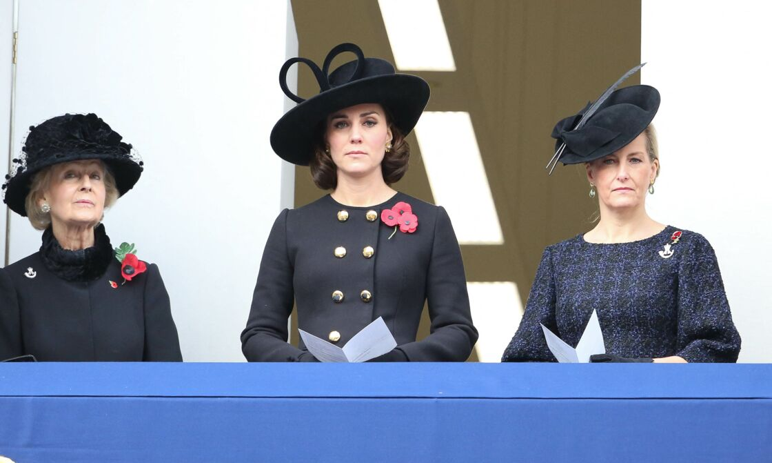 La princesse Michael de Kent, Kate Middleton et Sophie de Wessex à la cérémonie du Remembrance Sunday à Londres, le 12 novembre 2017.