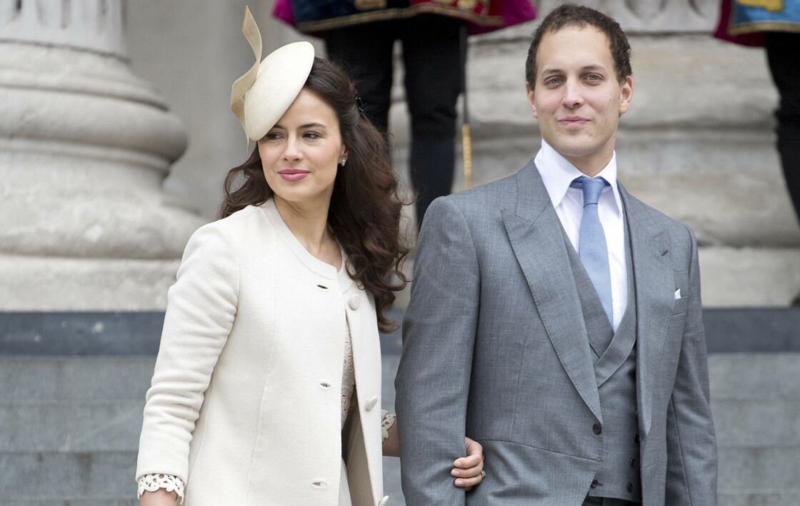 Sophie Winkleman et son époux, Frederick Windsor,  à la cathédrale Saint-Paul pour le jubile de diamant de la reine, en juin 2012.