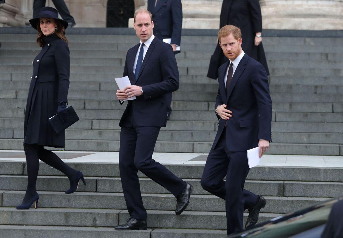 Kate Middleton, le prince William et son frère Harry, en décembre 2017