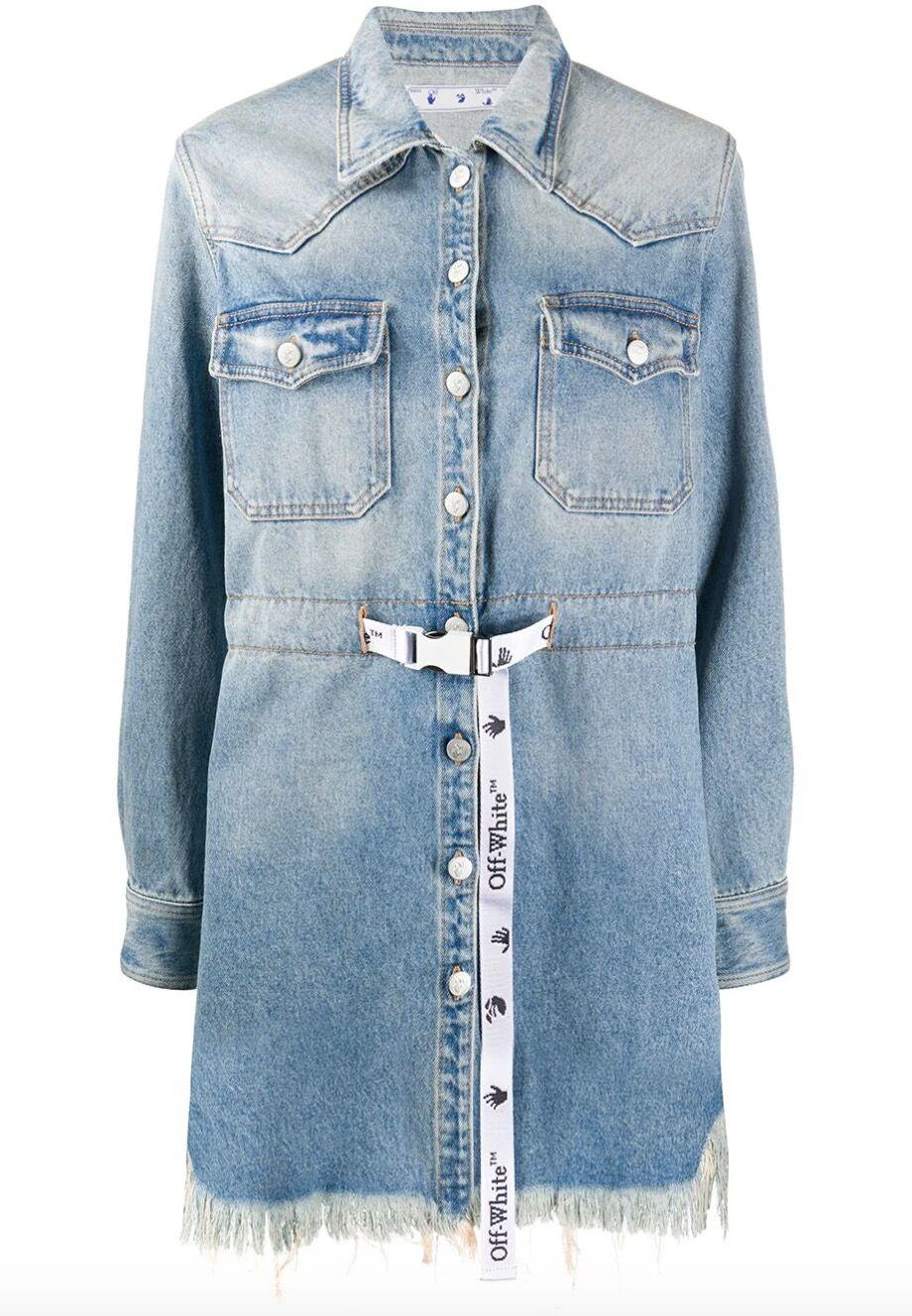 La robe en jean courte d'Amel Bent pour les K-O de The Voice est signée Off-White et coûte 810 €.