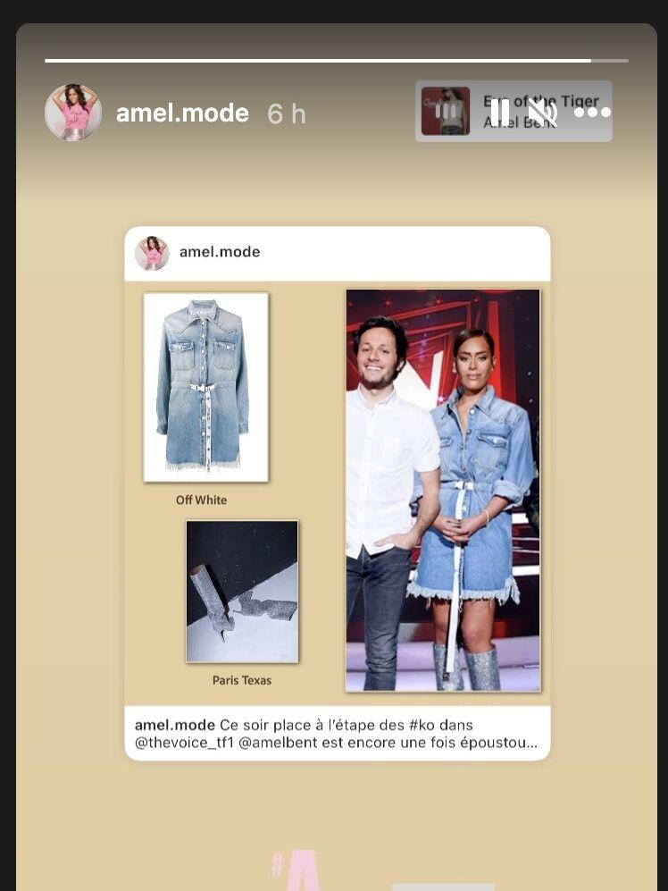 L'instagram Amel Mode dédié au looks de la star dévoile le look jean/glitter d'Amel Bent sur le plateau de The Voice