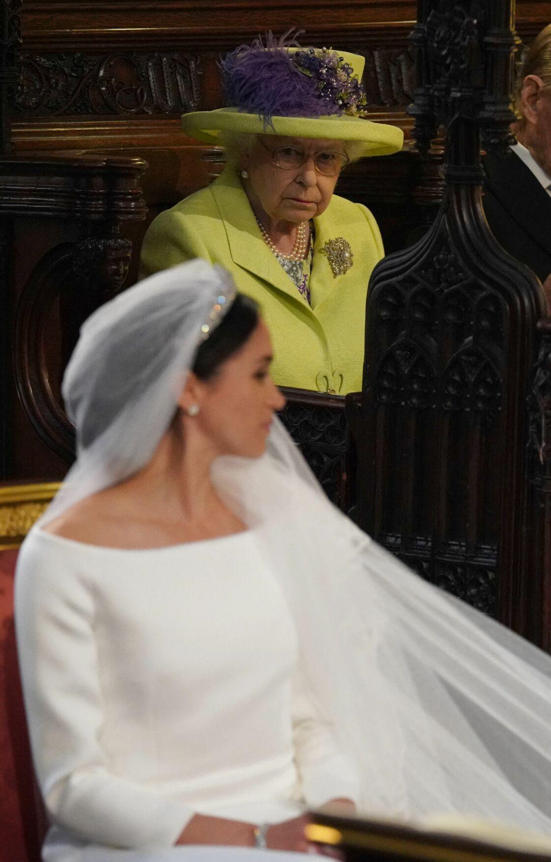 La reine Elizabeth II le jour du mariage de Meghan Markle avec le prince Harry