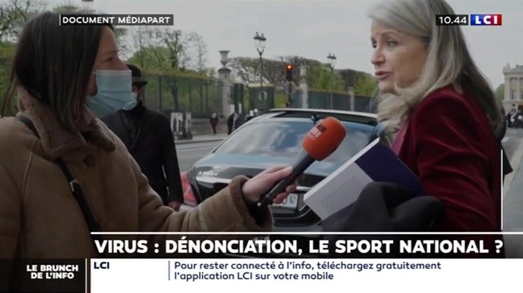 Joëlle Garriaud-Maylam interrogée à la sortie du Meurice par Mediapart