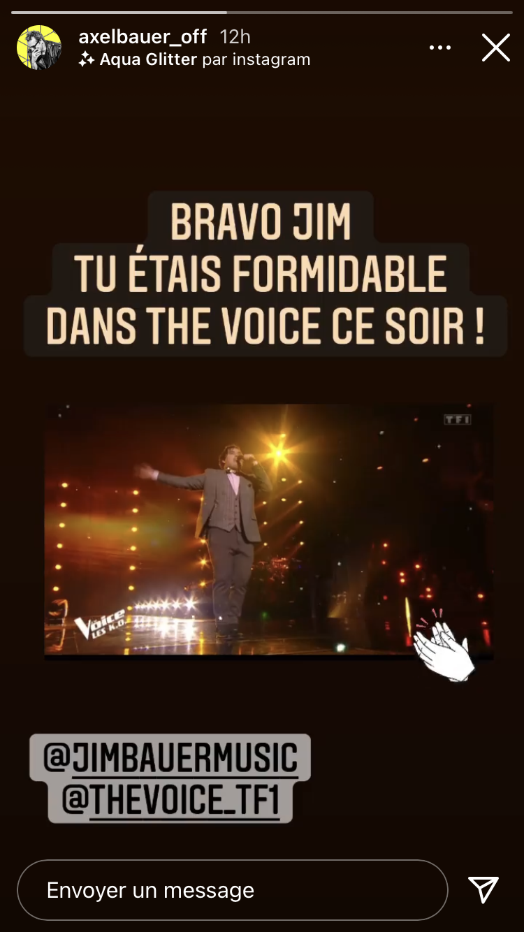 Le chanteur Axel Bauer félicite son fils Jim Bauer en story Instagram pour sa performance dans The Voice le 17 avril 2021