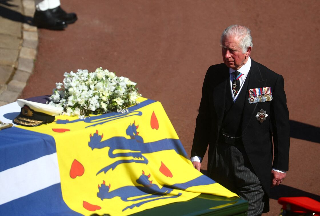 Le prince Charles durant les funérailles de son père le prince Philip, samedi 17 avril 2021