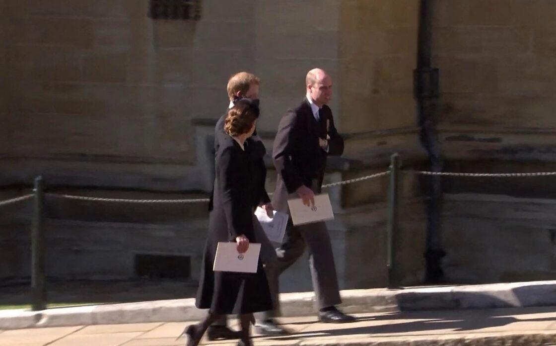 Le prince William, le prince Harry et Kate Middleton à la sortie des funérailles du prince Philip, le 17 avril 2021 à Londres