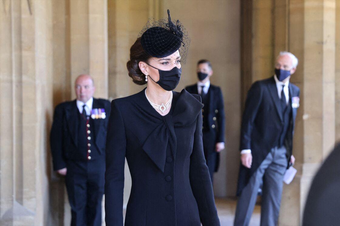 Kate Middleton aux funérailles du prince Philip, à la chapelle Saint-Georges du château de Windsor, le 17 avril 2021