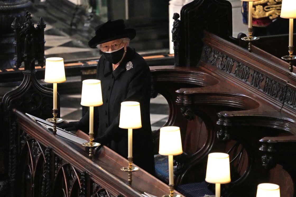 La reine Elizabeth II durant les funérailles du prince Philip, samedi 17 avril 2021.
