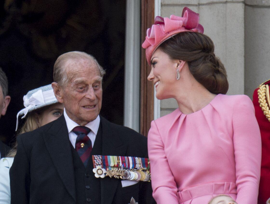 Le prince Philip et Kate Middleton lors de la parade « Trooping the Colour » à Londres, en 2017.
