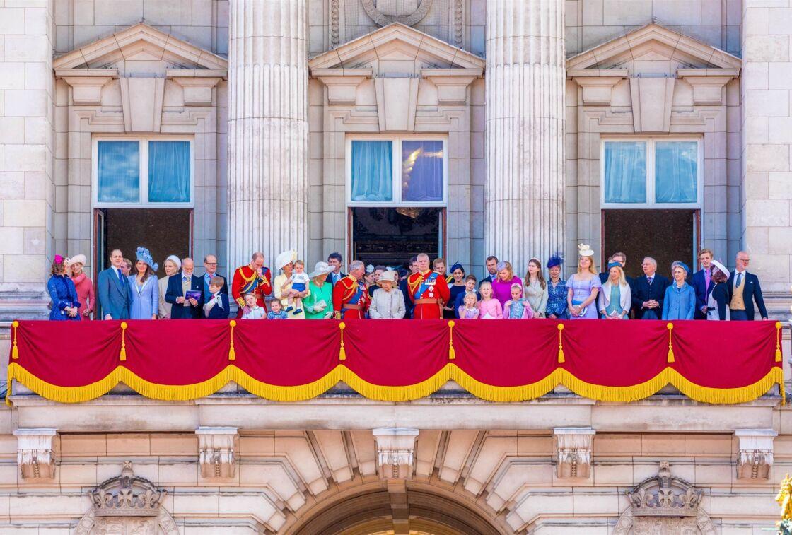 La famille royale au balcon du palais de Buckingham lors de la parade Trooping the Colour, en 2019.