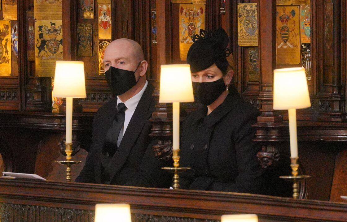 Mike et Zara Tindall aux obsèques du prince Philip samedi 17 avril en la chapelle Saint-Georges de Windsor