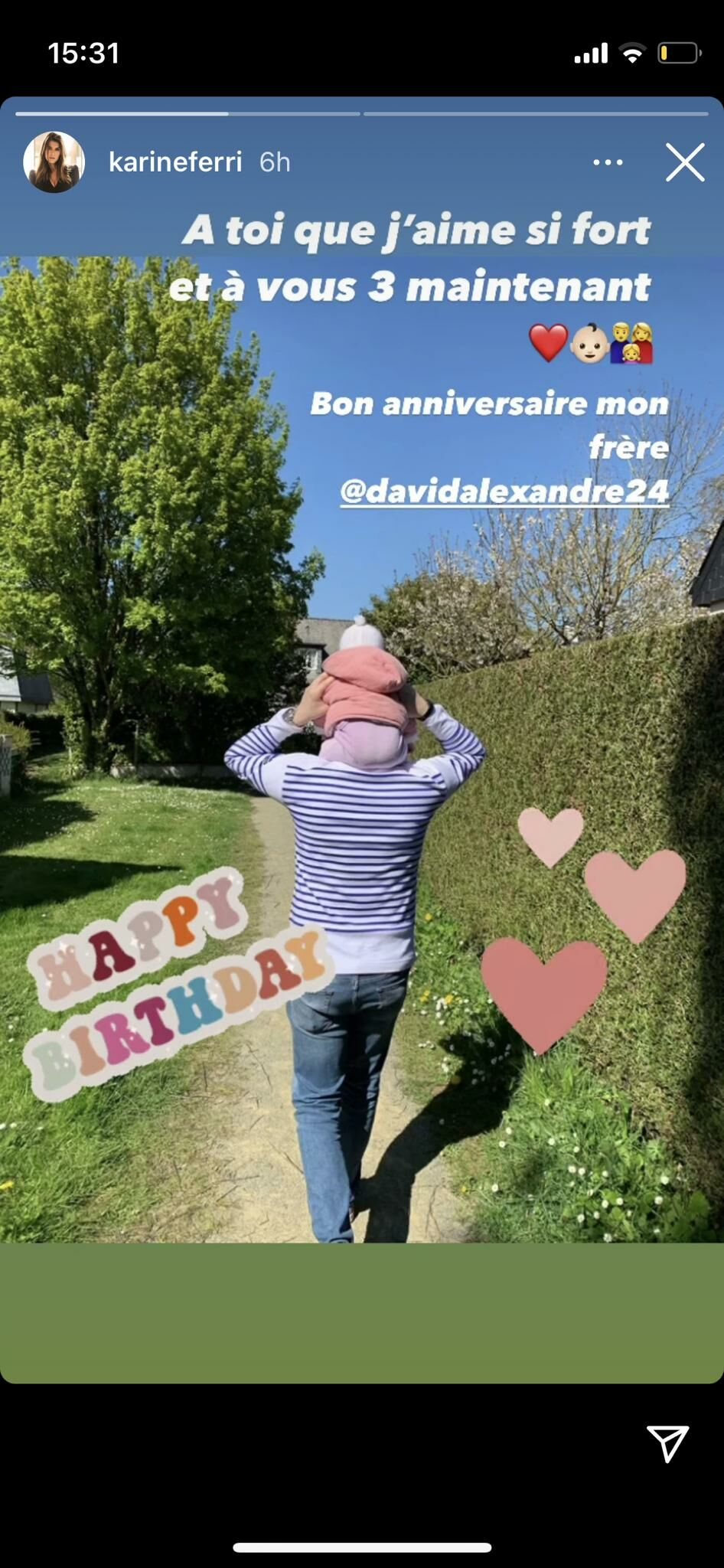 Karine Ferri souhaite l'anniversaire de son frère David, le samedi 24 avril 2021.
