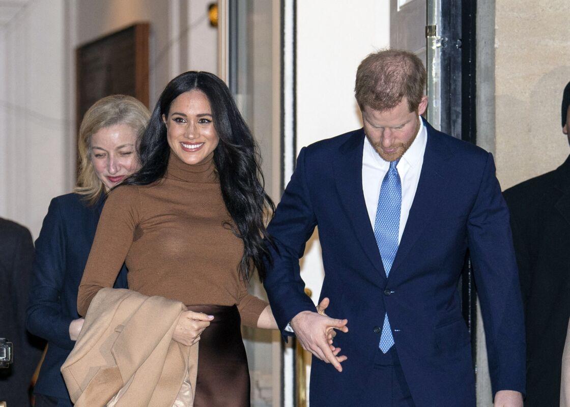 Le prince Harry et Meghan Markle lors de leur premier engagement de l'année à la Canada House, à Londres, en janvier 2020.